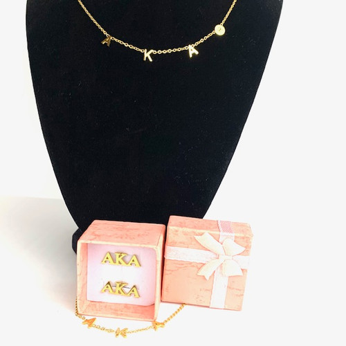 "AKA  18"" Necklace and Bracelet Get a Pair of Earrings Free"
