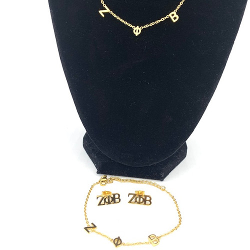 "Zeta Phi Beta Adjustable 16""- 18"" Necklace and Bracelet Get a Pair of Earrings Free"