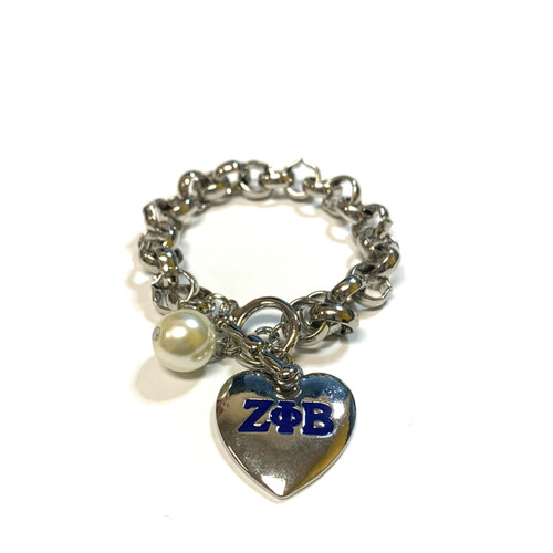 Zeta Phi Beta  Heart Toggle Bracelet