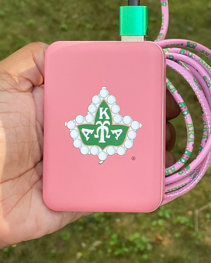 AKA  SORORITY BADGE POWER BANK WITH FREE IPHONE CHARGING CABLE