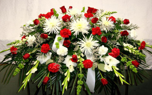 Red and White Casket Spray-FNRW-02