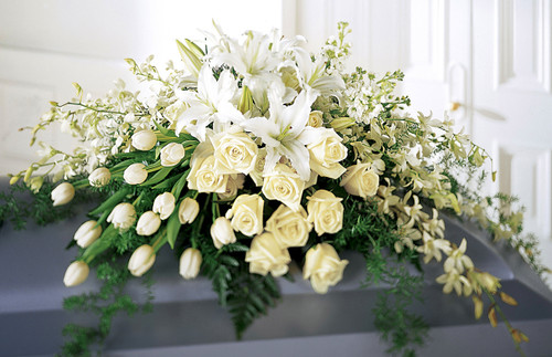 Grand All White Casket Spray-FNGA-01