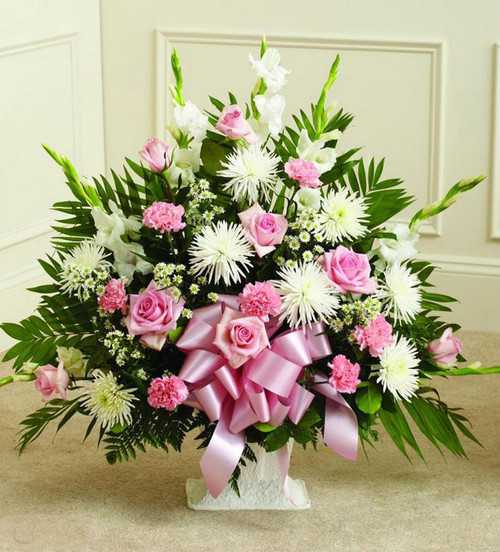 Pink and White Sympathy Basket-FNFSB-10