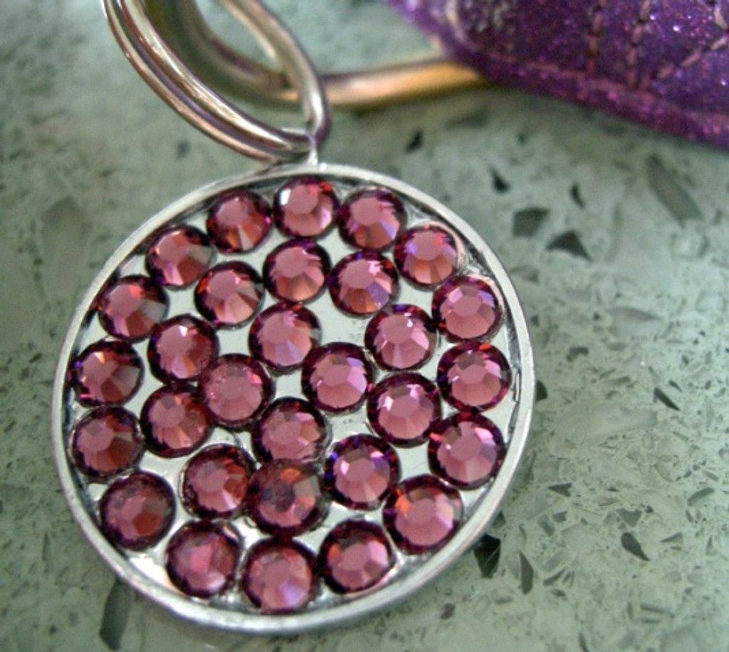 Amethyst Purple Rhinestone Pet ID Tag