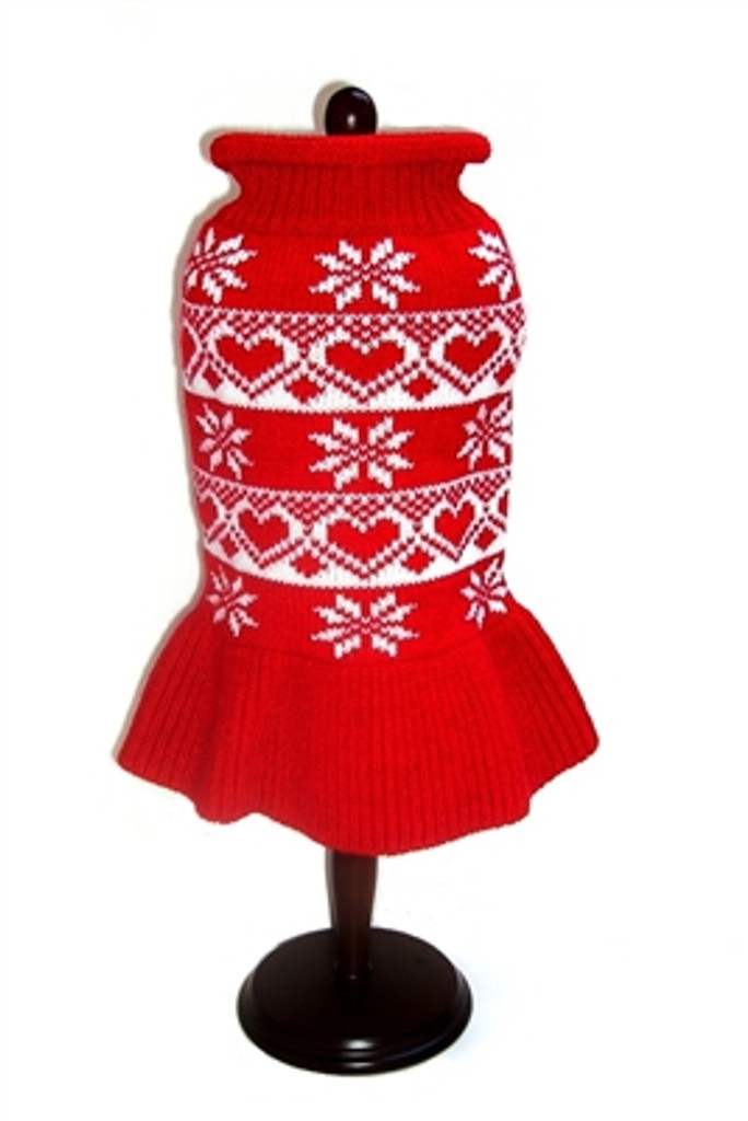 Hearts & Snowflake Red Winter Dog Dress