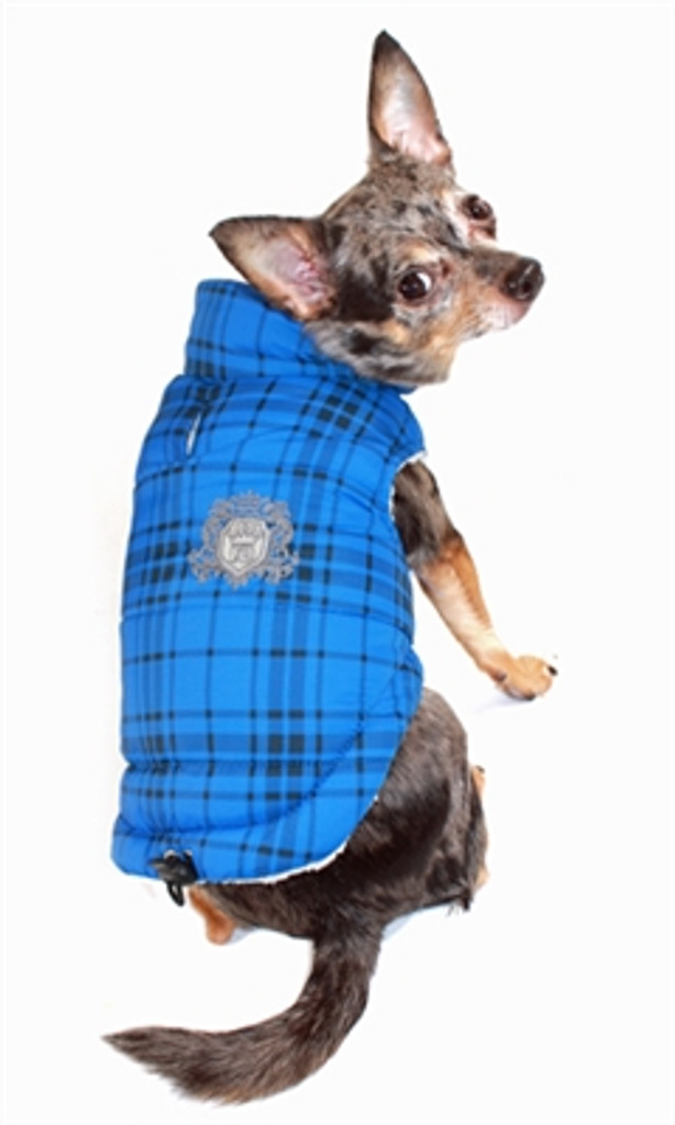 Plaid Sherling Puffer Vest - Blue