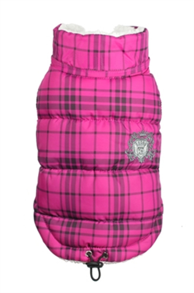 Plaid Sherling Puffer Vest - Pink