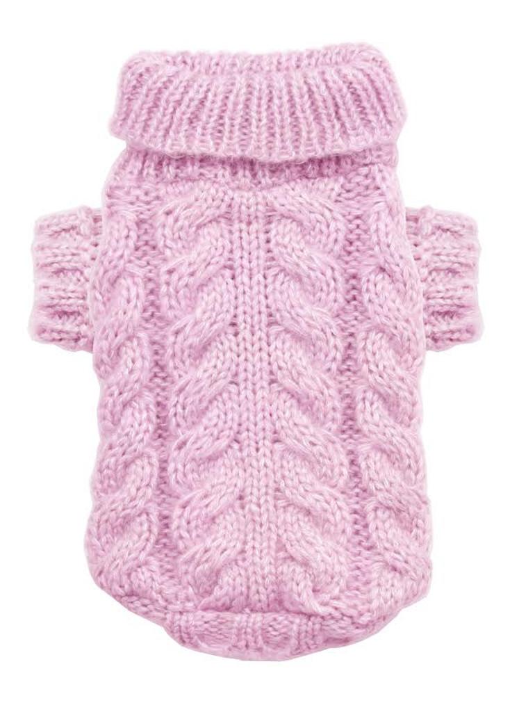 Angora Cable Knit Sweater Pink