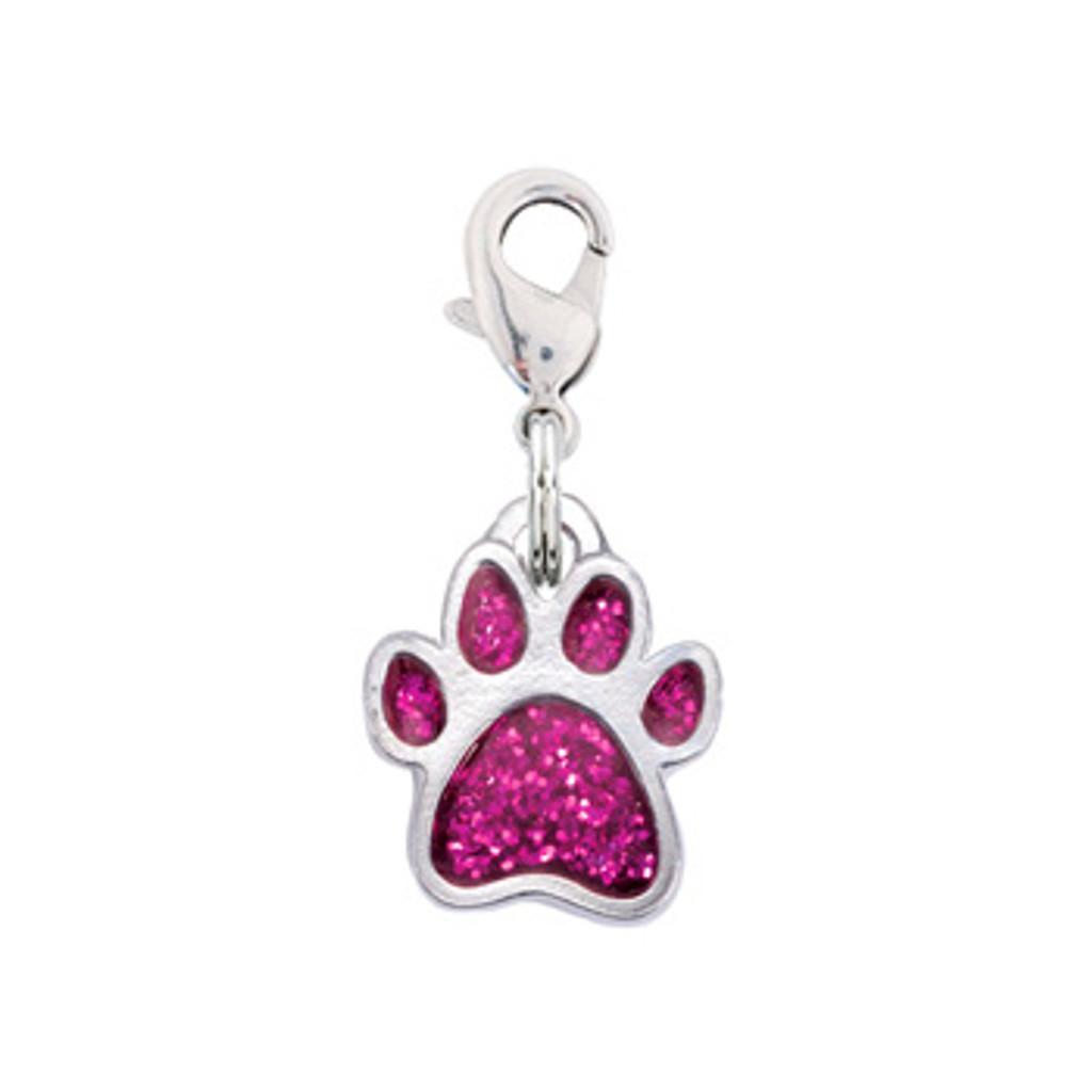 Rockin Doggie Pink Sparkle Paw Dog Charm
