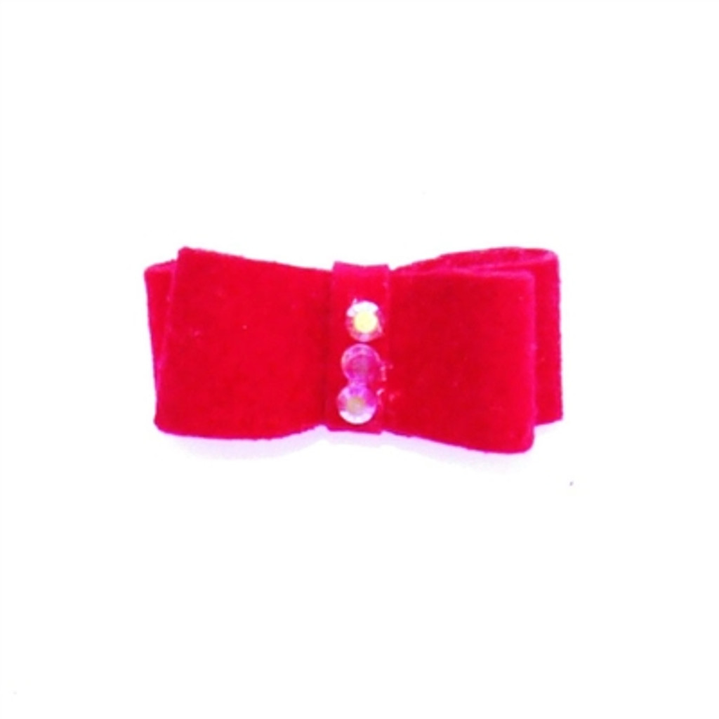 Red Recycled Ultra Suede Hair Bows