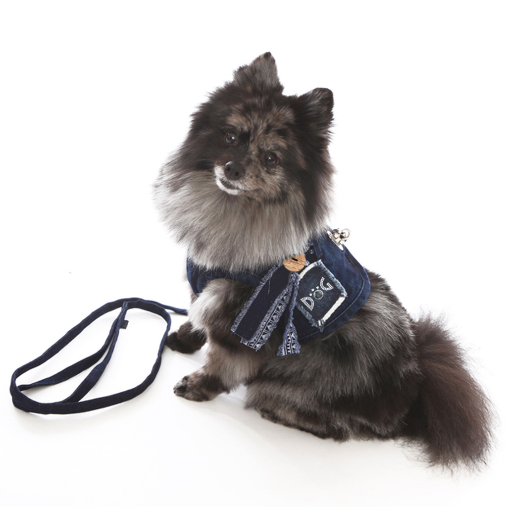 The Hollywood Denim Harness Vest with Frayed Collar