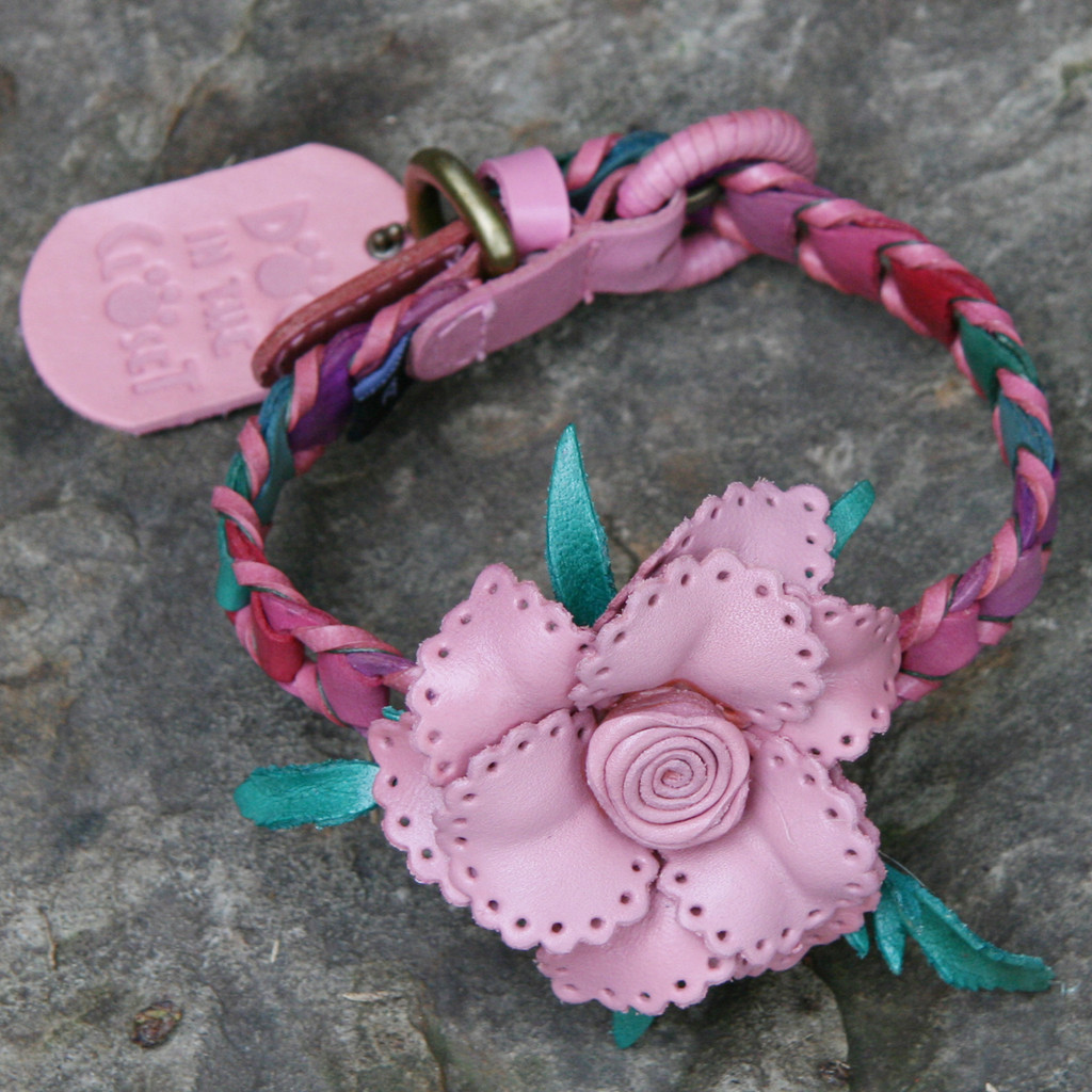 Multi Pink Leather Dog Collar with Light Pink Flower Attachment