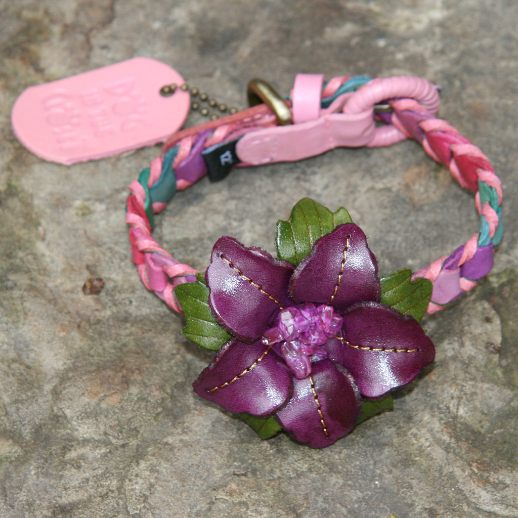 Multicolor Pink Leather Dog Collar with Purple Flower Attachment