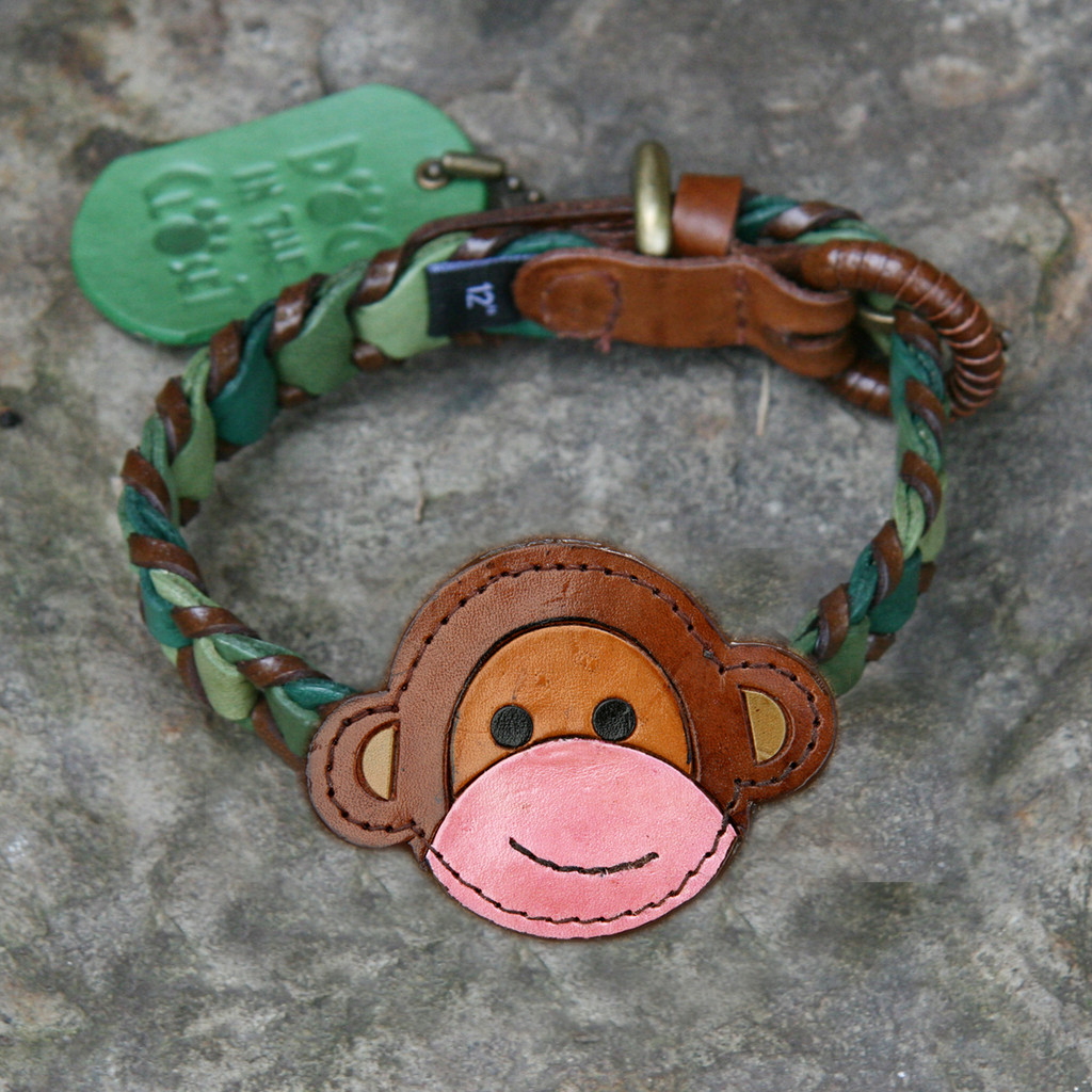 Shades of Green Leather Dog Collar with Monkey Attchment