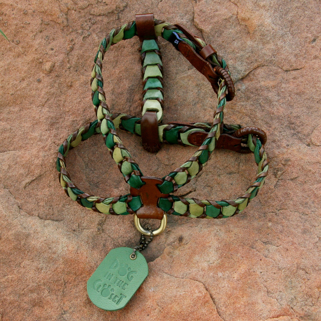Shades of Green Leather Harness