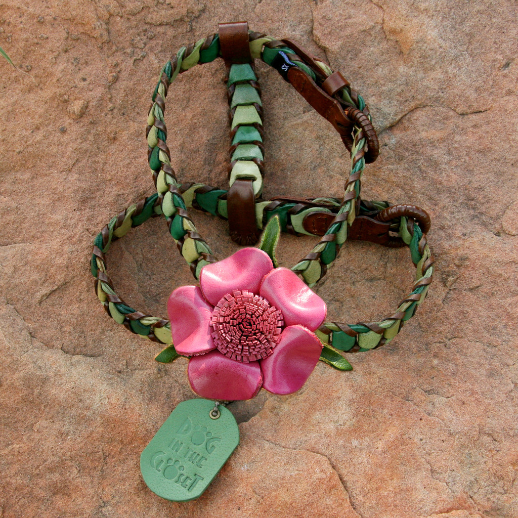 Shades of Green Leather Dog Harness with Hot Pink Flower Attachment