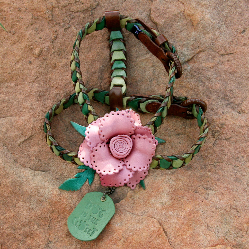 Shades of Green Leather Dog Harness with Light Pink Flower Attachment