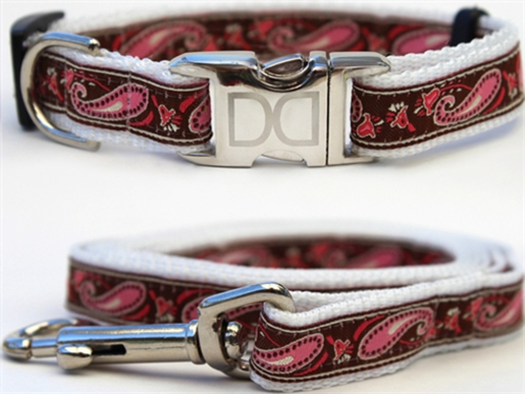 """Boho"" Pink & Chocolate Paisley Collection - All Metal Buckles"