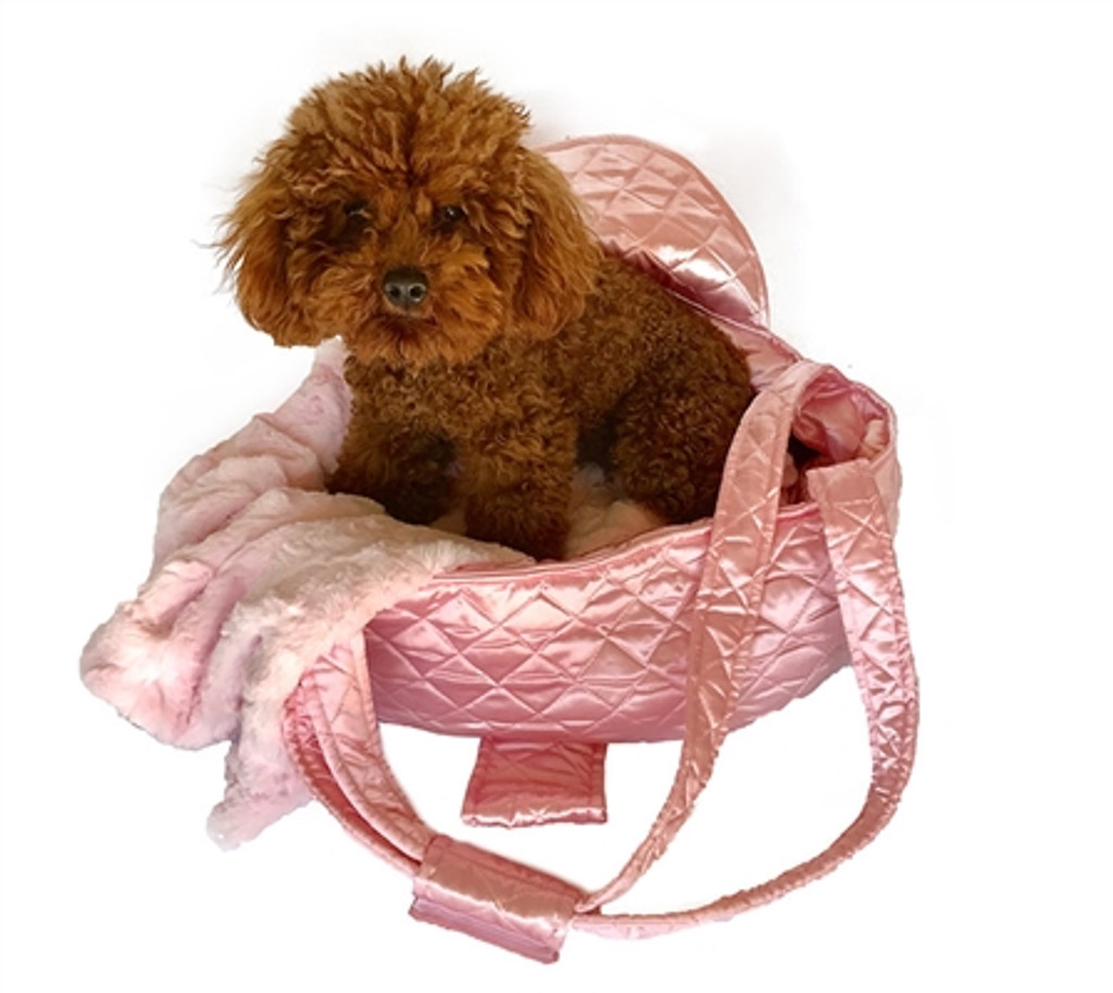 Brit Quilted Carrier- Pink Satin