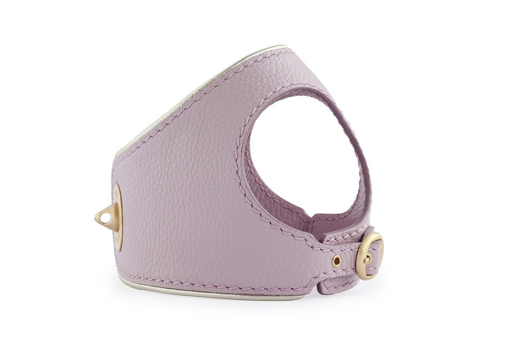 Golden Pink Leather Dog Harness