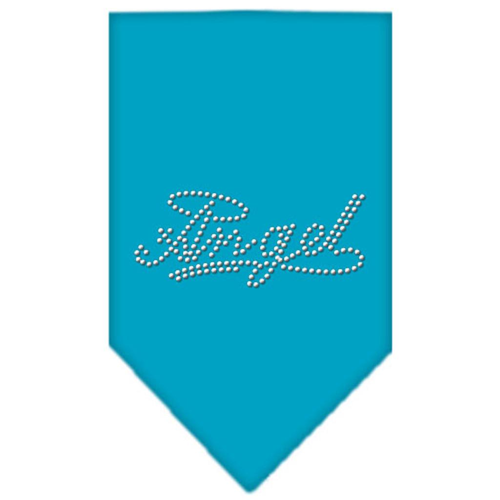 Angel Rhinestone Bandana - Turquoise