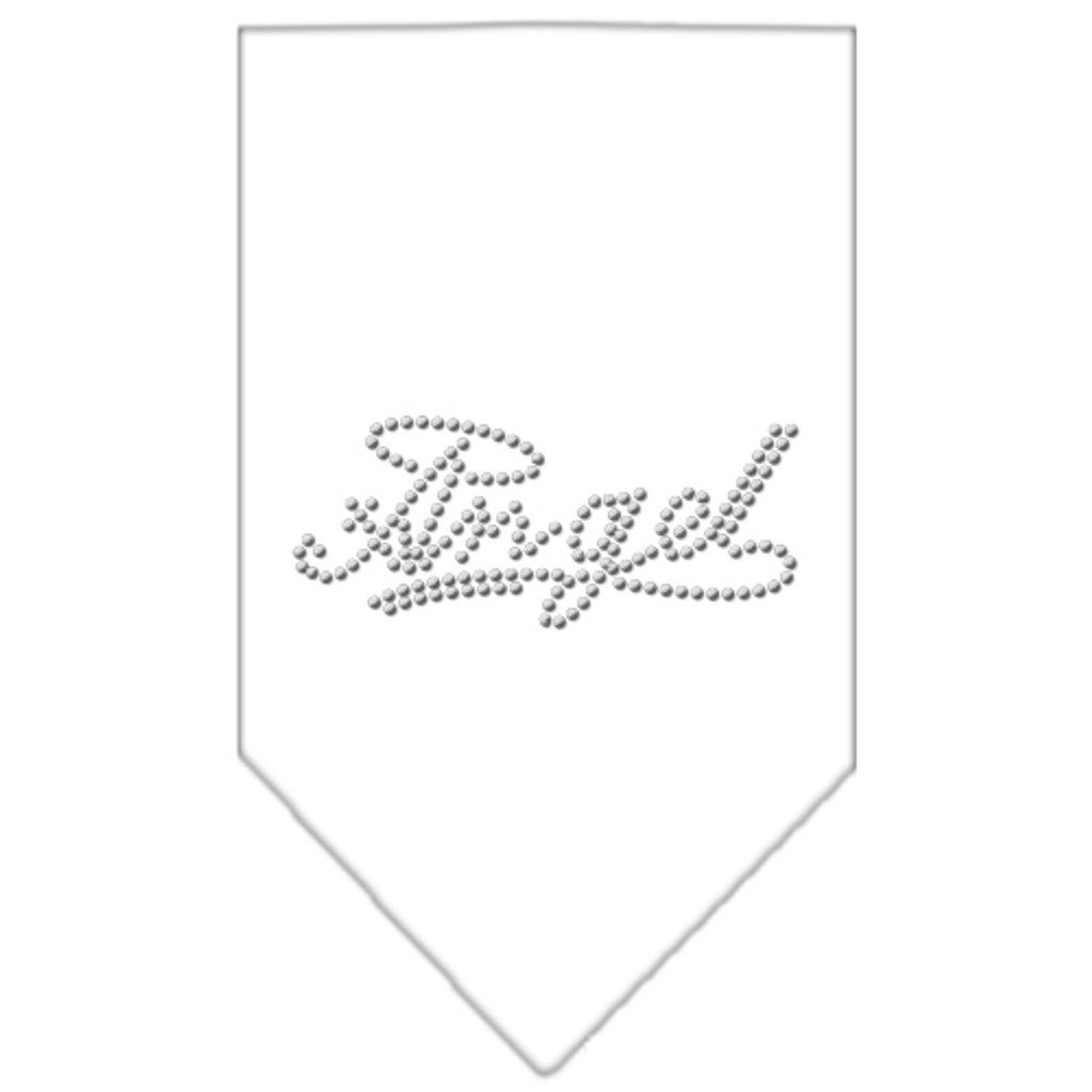 Angel Rhinestone Bandana - White