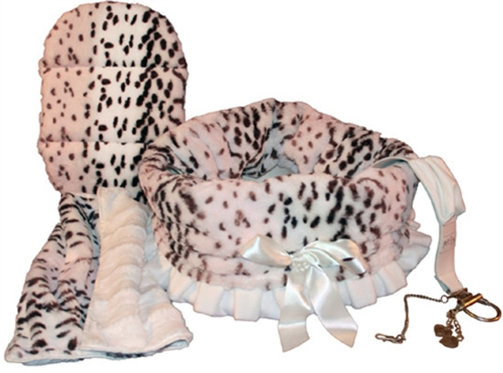 Snow Leopard Reversible Snuggle Bugs Pet Bed, Bag, and Car Seat in One