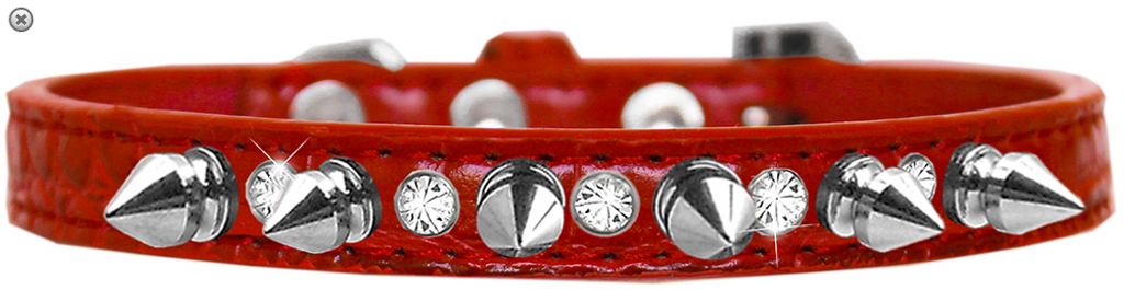 Silver Spike and Clear Jewel Croc Dog Collar