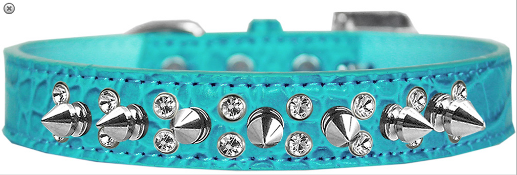 Double Crystal and Spike Croc Dog Collar