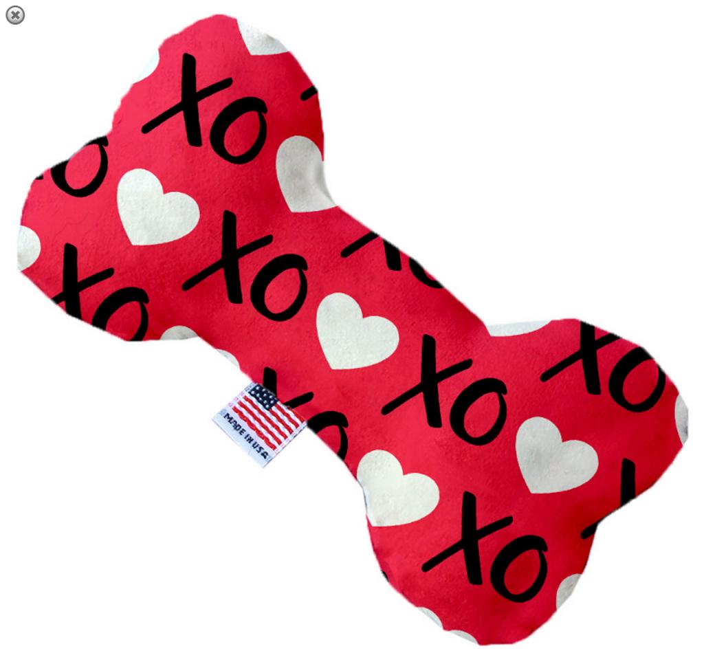 Red XOXO Bone Dog Toy
