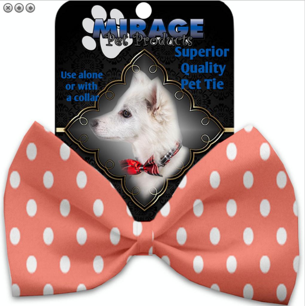Peach Polka Dots Pet Bow Tie