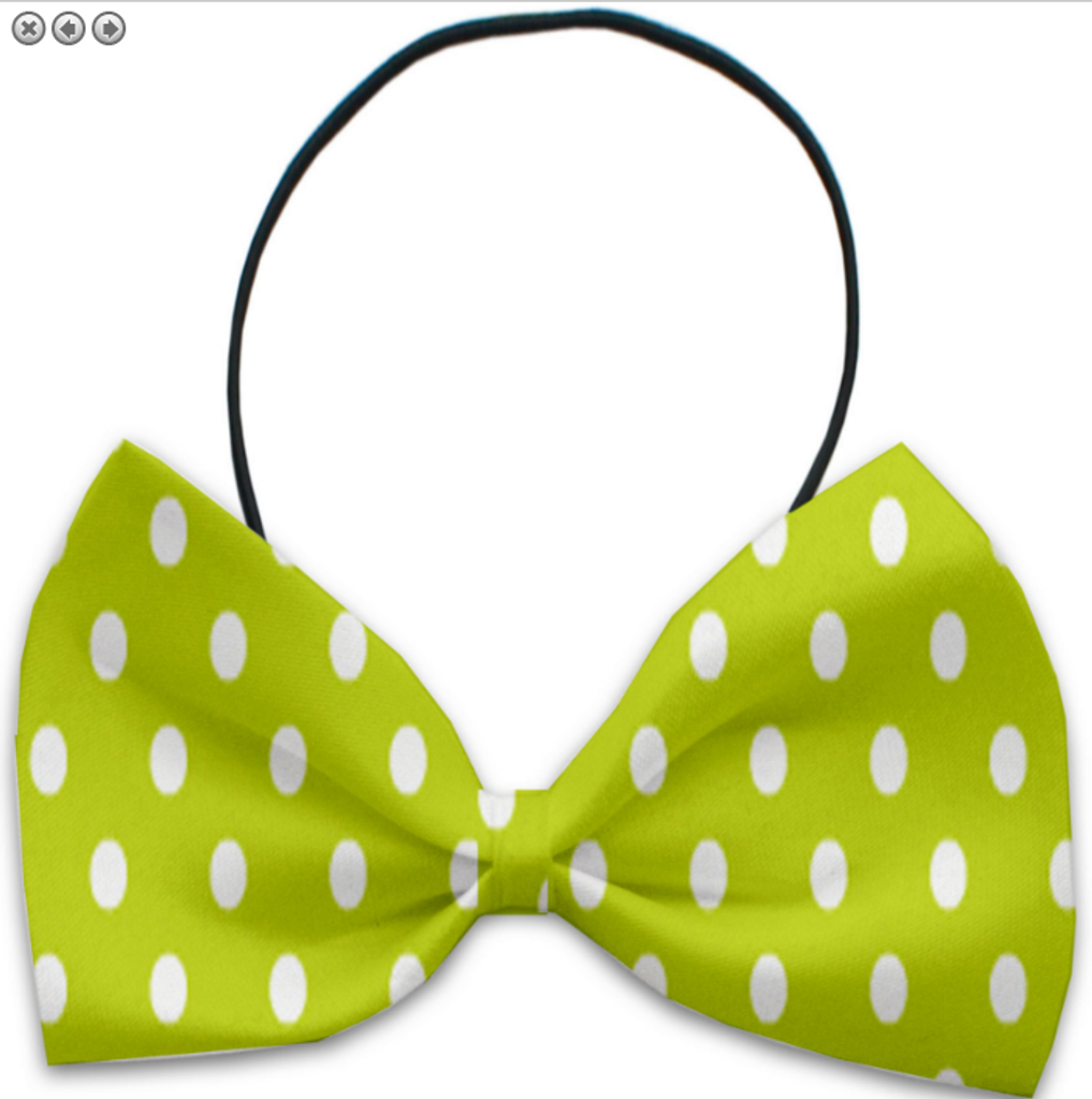 Lime Green Polka Dots Pet Bow Tie