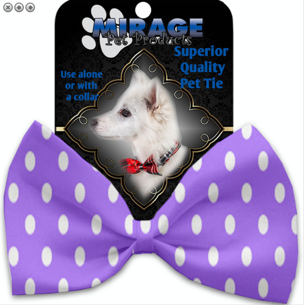 Purple Polka Dots Pet Bow Tie