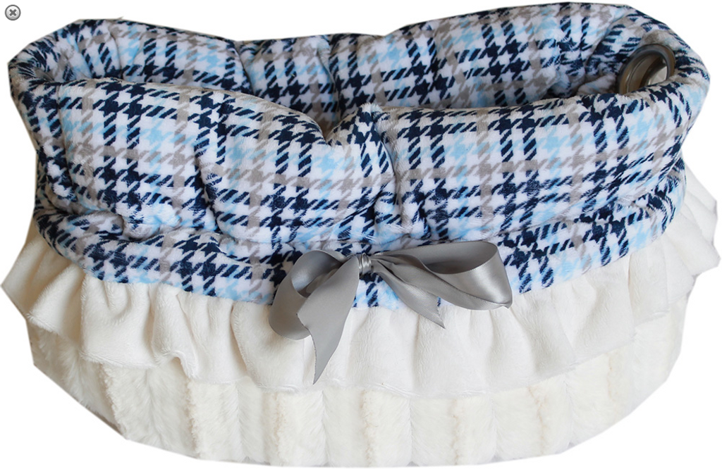 Blue Plaid Reversible Snuggle Bugs Pet Bed, Bag, and Car Seat All-in-One
