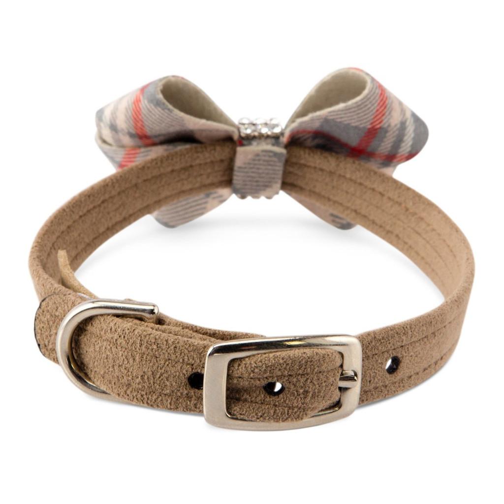 Scotty Nouveau Bow Doe Dog Brown Furberry Plaid Collar puppy collar