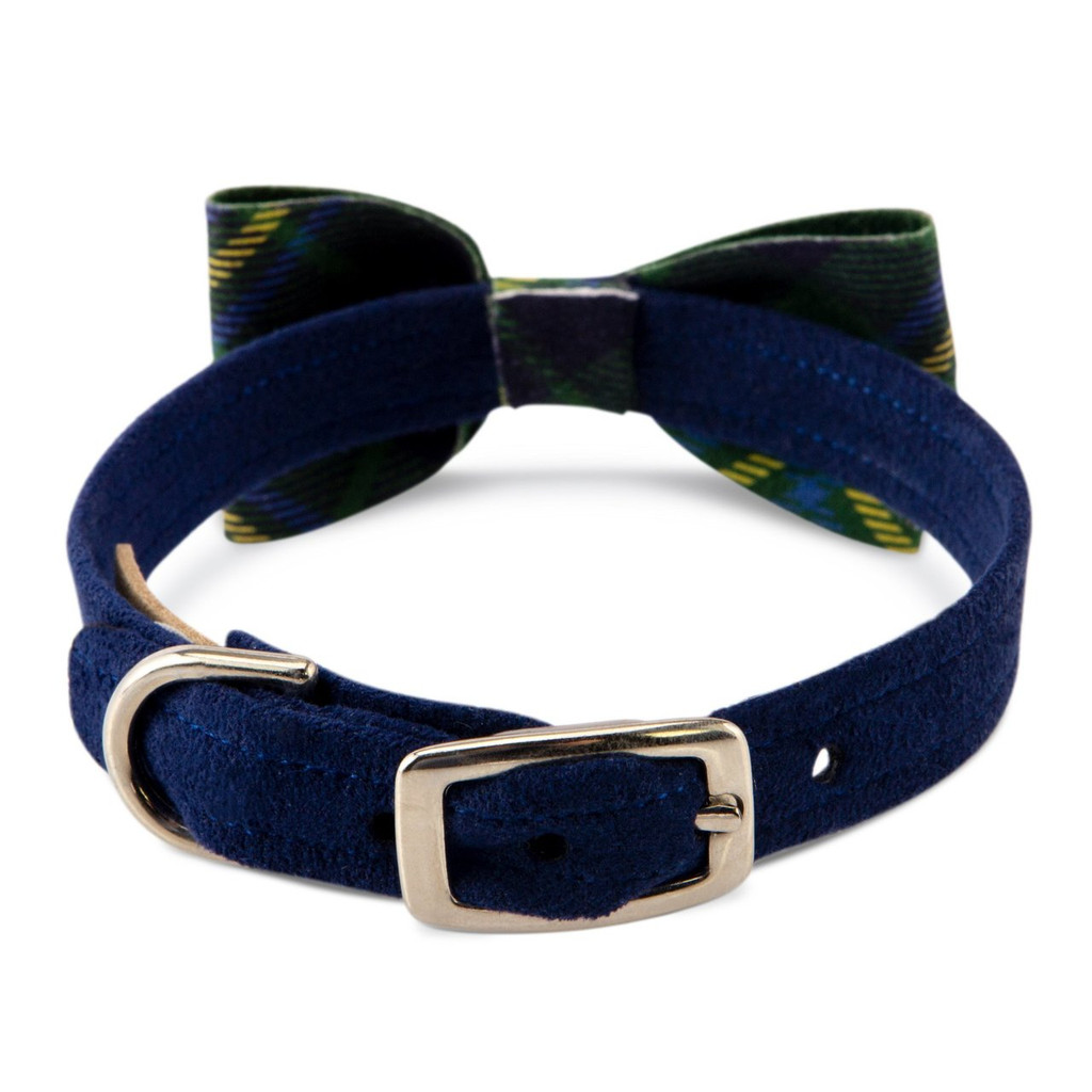 Scotty Furberry Blue and Green Plaid Bow Tie Dog Collar 2