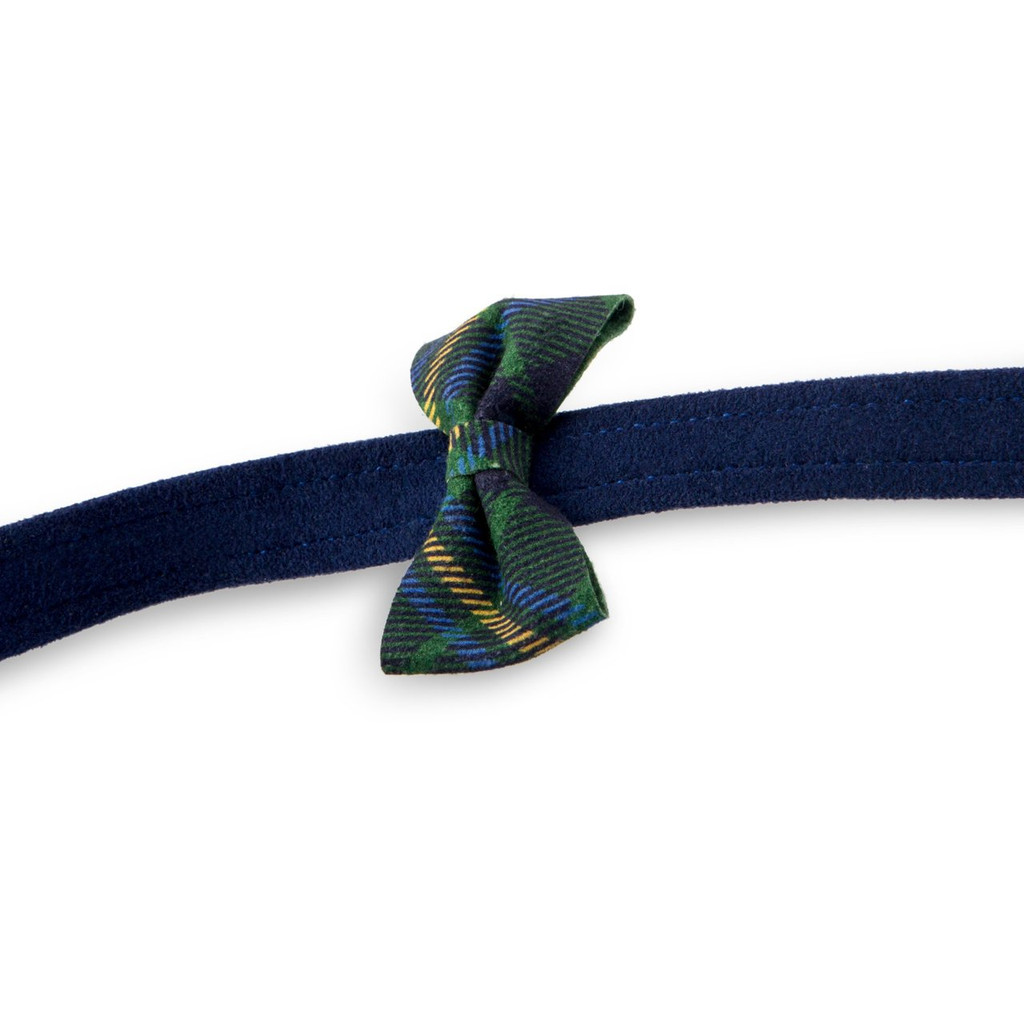 Scotty Furberry Blue and Green Plaid Bow Tie Dog Leash