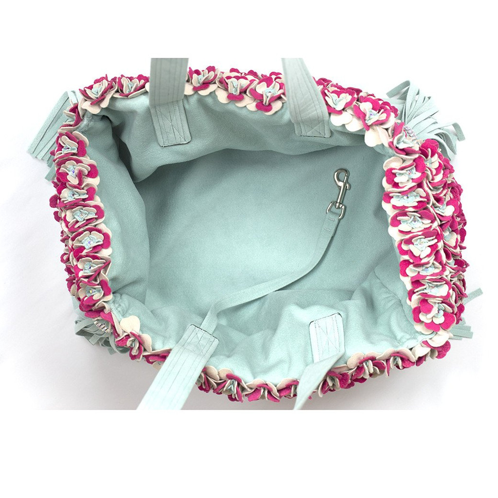 Garden Flower Mint Luxury Carrier Purse 2