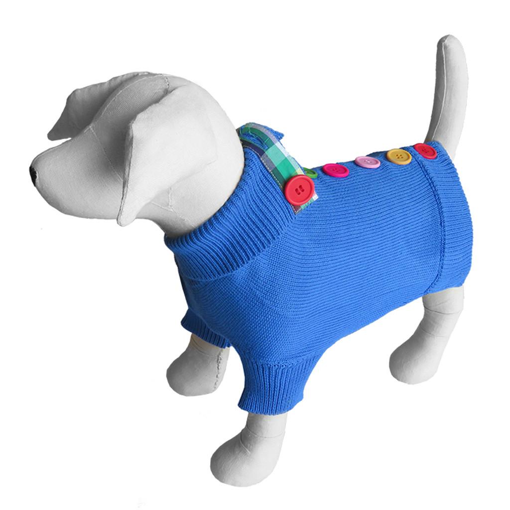 Blue Rainbow Button Sweater