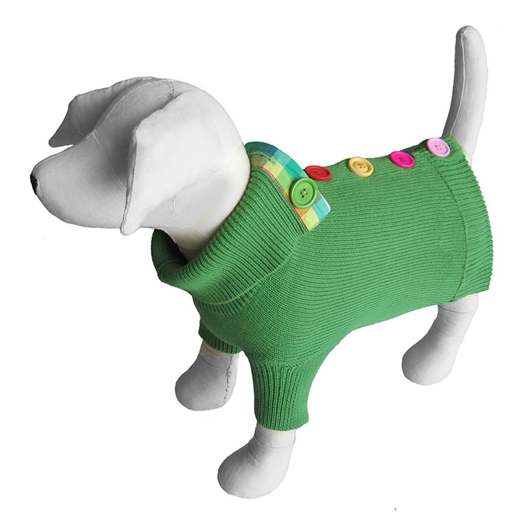 Green Rainbow Button Sweater