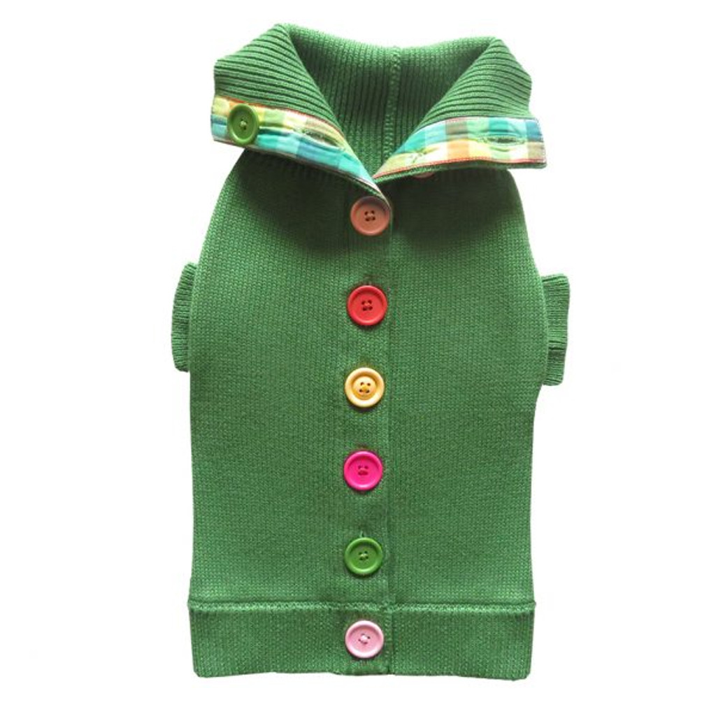 Green Rainbow Button Sweater 2