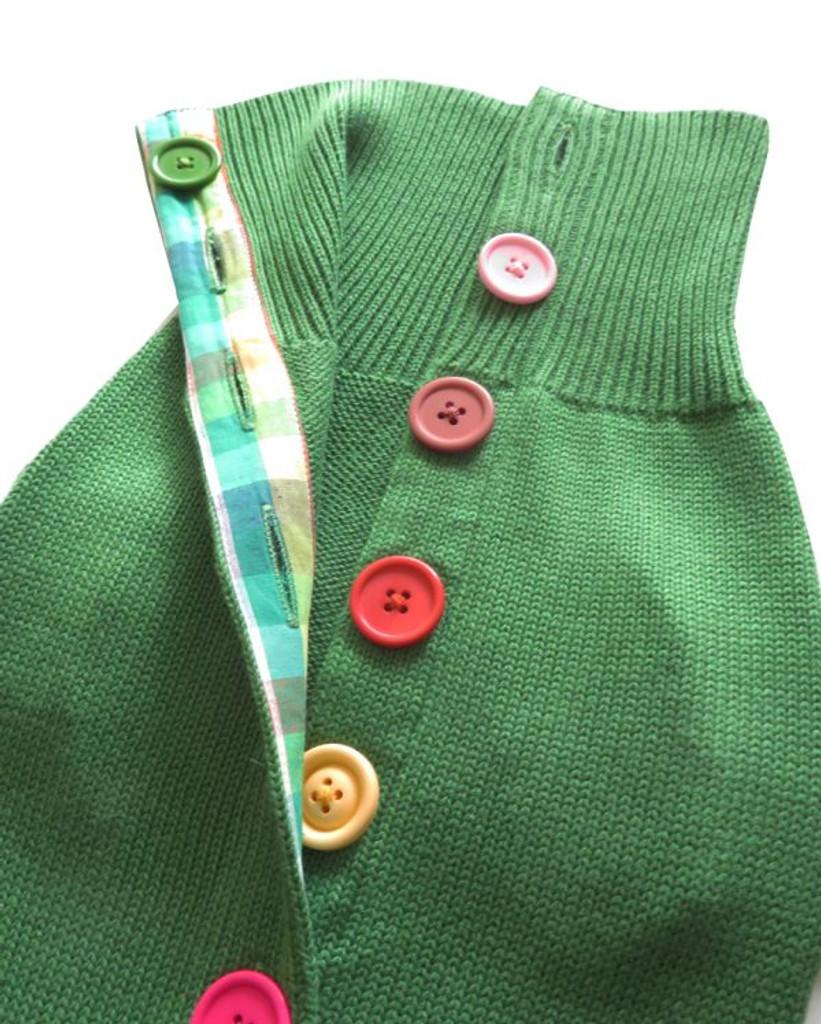 Green Rainbow Button Sweater 3