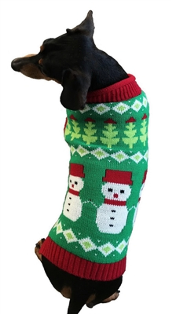 Christmas Sweaters For Dogs.Fair Isle Snowmen Christmas Sweater