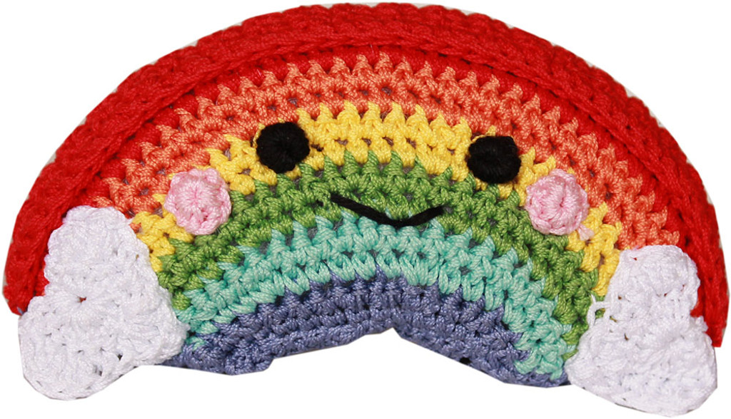 Magical Collection- Knit Knacks-Organic Cotton Small Dog Toy - Happy Rainbow