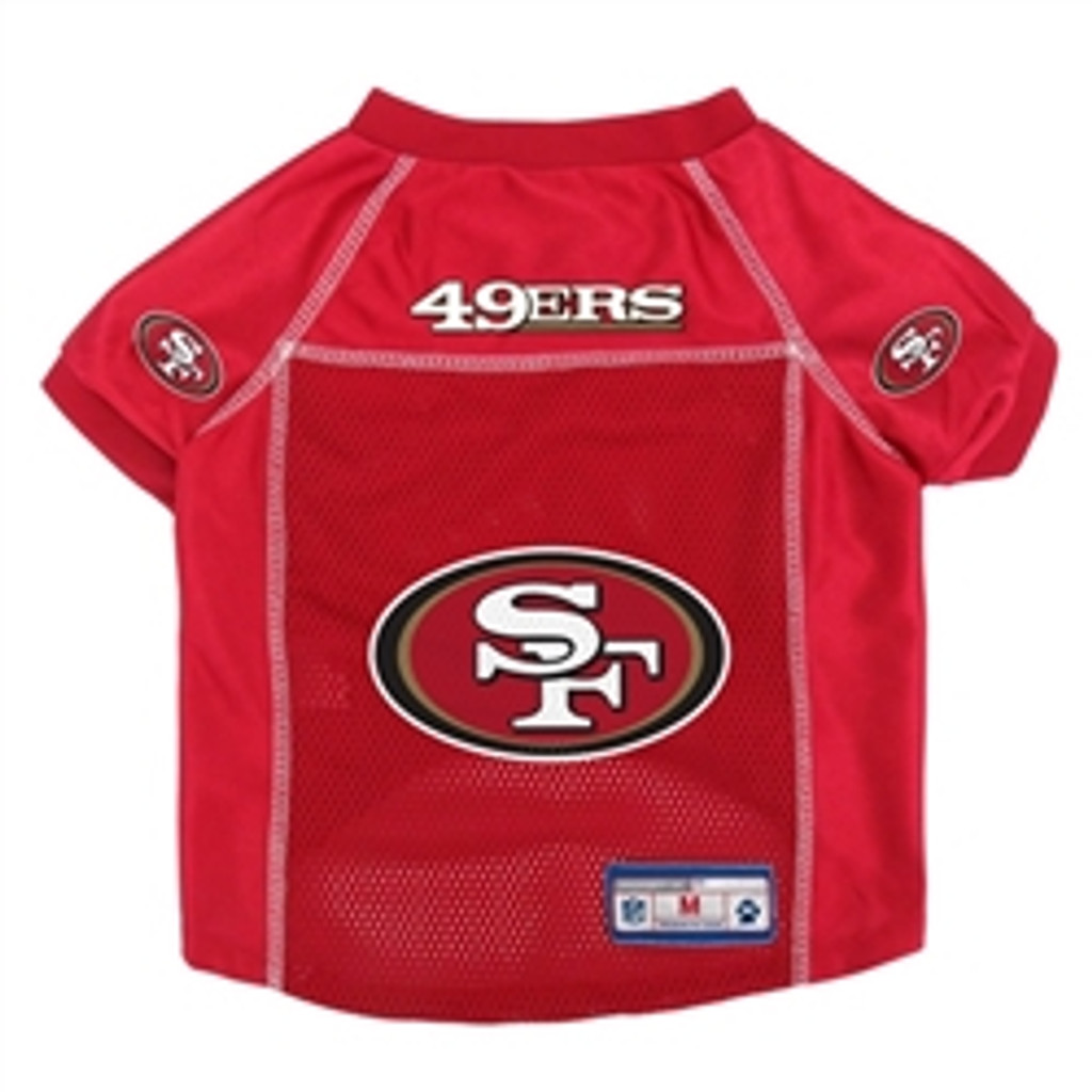 Our pet jersey features full color team graphics on the back of the sleeve and an NFL shield on the back.  Breathable athletic mesh jersey with woven NFL Shield  Dazzle V-neck collar  Official NFL Shield on the collar  Woven Jock tag & locker tag  Available Sizes: XS-XL