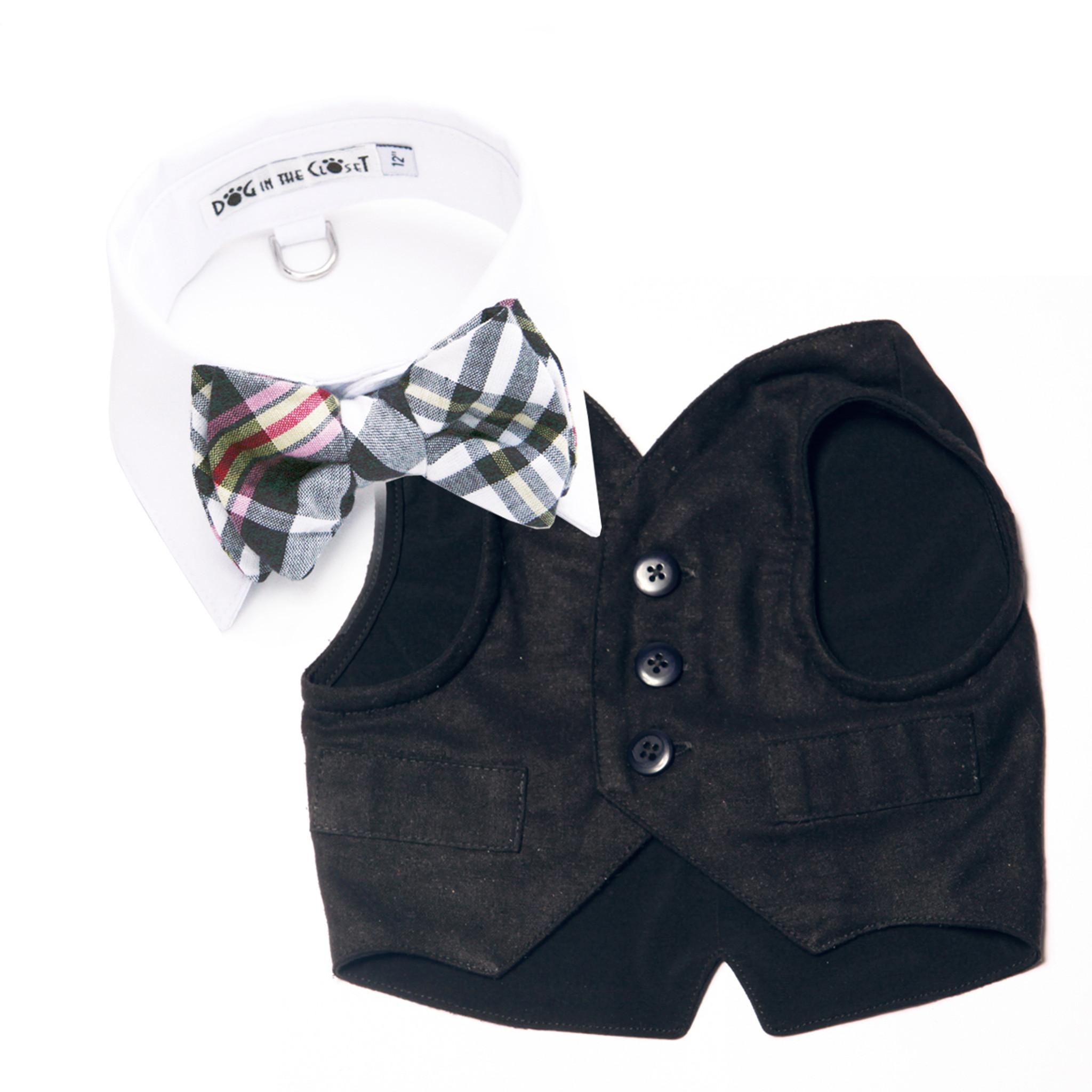 6d86a2e974c2 White Shirt Dog Collar with Black & White Madras Plaid Bow Tie