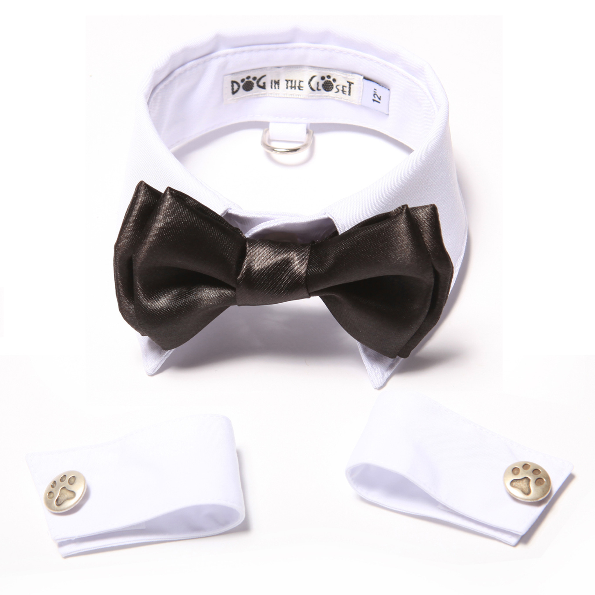 0302c194fa99 White Shirt Dog Collar with Black Bow Tie