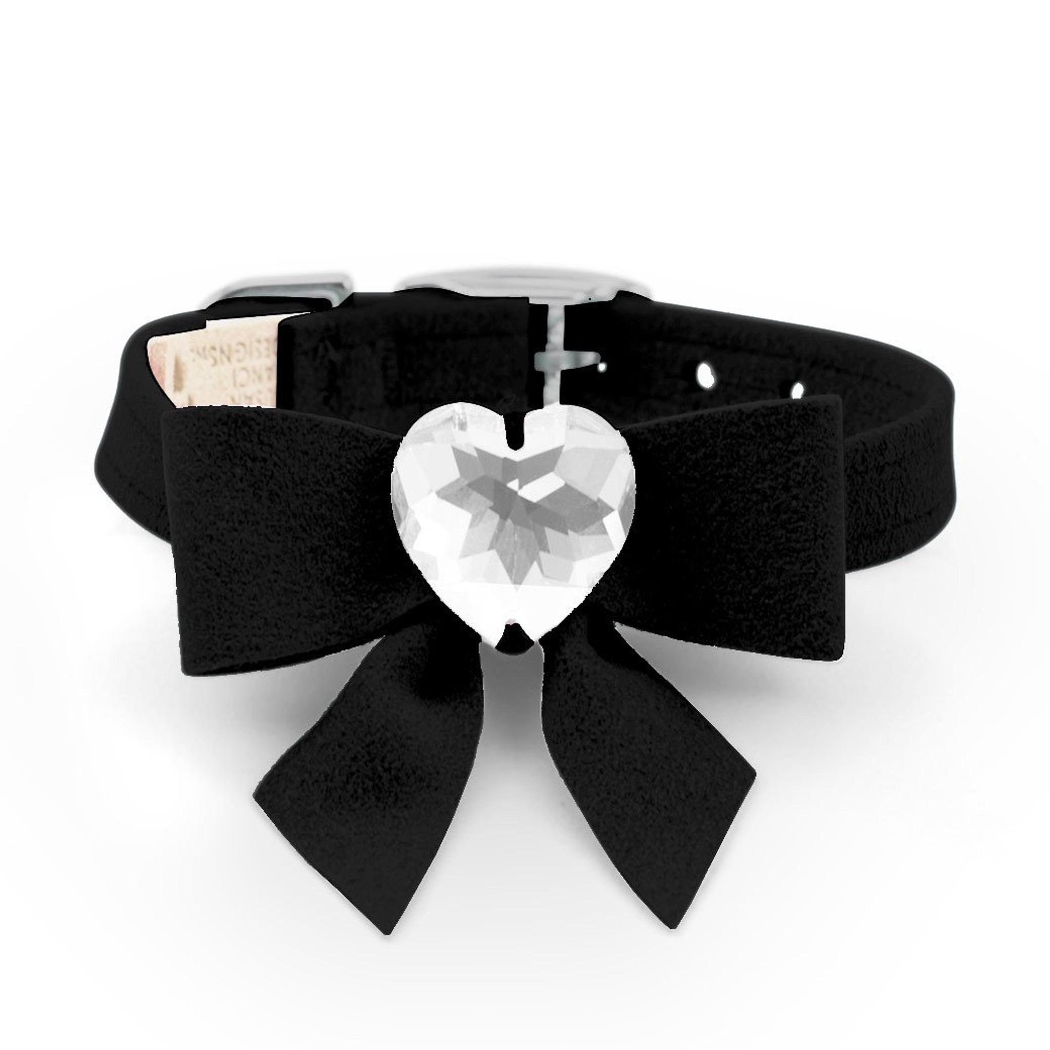 70a3e44d375cc Luna Bowtique Heart Black Bow Collar