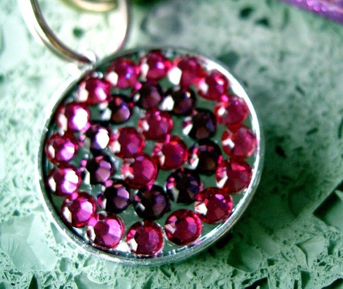 Pink and Purple Rhinestone Pet ID Tag