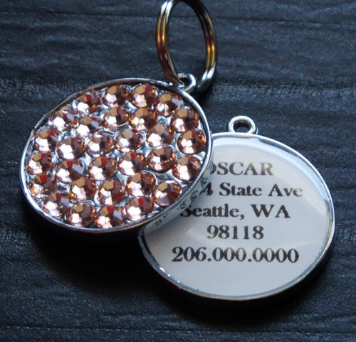 Powder Pink Swarovski Rhinestone Pet ID Tag